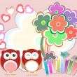 Stock Photo: Background with cute owls, heart, flower and birds