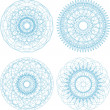 Set of guilloche rosettes certificate or diplomas, blue decorative elements — Stock Photo