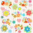 Abstract psychedelic flowers with hearts and flower on lined paper background — 图库照片