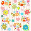Stockfoto: Abstract psychedelic flowers with hearts and flower on lined paper background