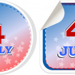Independence day badge on patriotic background - stickers set — Stock Photo
