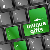 Unique gifts, on the keyboard - holiday concept — Stock Photo