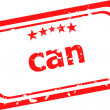 Can on red rubber stamp over a white background — Stock Photo