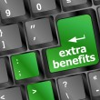 Extra benefits button on keyboard - business concept — Stok fotoğraf