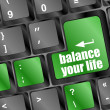 Stock Photo: Balance your life button on computer keyboard key
