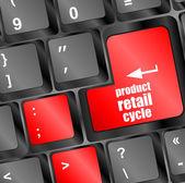 Produkt detaljhandel cykla på dator tangentbord nyckelknappen — Stockfoto