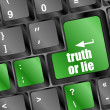 Truth or lie button on computer keyboard key — Stock Photo