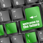 Welcome to the future text on laptop keyboard key — Stock Photo