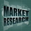 Pixeled word Market research on digital screen 3d — Stock Photo