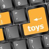 Toys word on computer keyboard pc key — Stock Photo