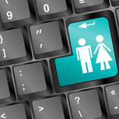 Computer keyboard with man and woman keys — Stock Photo