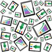 Tablet pc počítač zisk koncept, zelenou šipku a obchodní růst graf — Stock fotografie