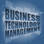 Business technology management words on touch screen interface — Stock Photo