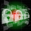Security concept: white padlock on digital background, 3d — Stock Photo #30782587