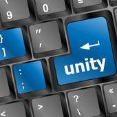 Unity word on computer keyboard pc key — Stock Photo