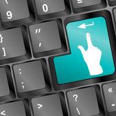 Gente en botón de teclado de la computadora de mano — Foto de Stock