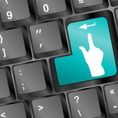 Lidé ruku na počítačové klávesnici tlačítko — Stock fotografie