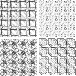 Set of monochrome geometric seamless patterns, backgrounds collection — Stock Photo