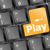 Computer keyboard with Play key - technology background — ストック写真