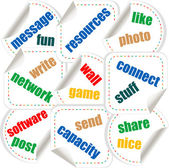 Social media stickers with networking concept words — Stock Photo