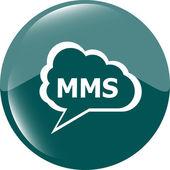 Mms blauwe cirkel glanzend web pictogram op witte achtergrond — Stockfoto