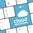Cloud solution words concept on blue button of the keyboard — Stock Photo #31060441