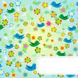 Stock Photo: Seamless pattern with flowers and birds. Floral background