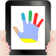 Black tablet pc with hand on the screen — Stock Photo