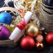 A Christmas basket, wine, gifts, crackers and ball bauble decoration — Stock Photo