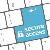 Secure access, close up view on conceptual keyboard, Security blue key — Stock Photo