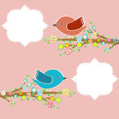 Two birds in the trees with speech bubbles on tree branch — Stock Photo