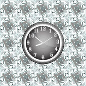 Modern wall clock on the grunge background — Stock Photo