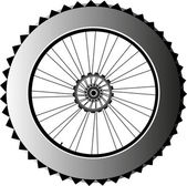 Metal bike wheel with tire and spokes — Stock Photo