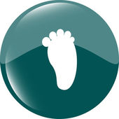 Footprint people circle web glossy button icon — Stock Photo