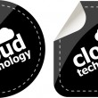 Cloud technology icon, label stickers set — Foto de Stock