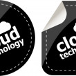 Cloud technology icon, label stickers set — Stock Photo