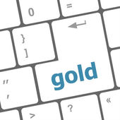 Keyboard - gold word key, closeup — Stock Photo