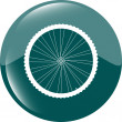 Bike wheels green square glossy web icon button — Stock Photo