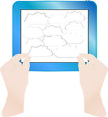 Hands with bubbles on computer tablet pc — Stock Photo