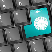Time concept: Enter button with Clock on computer keyboard — Stock Photo