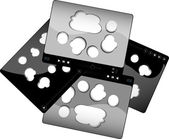 Movie player interface with abstract clouds and digital buttons — Stock Photo