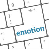 Computer keyboard with emotion key - business concept — Stock Photo