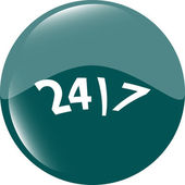 24 hour green button web icon — Stock Photo