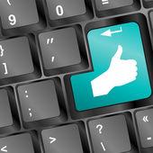 Jak ręcznie na niebieski przycisk na klawiaturze — Zdjęcie stockowe