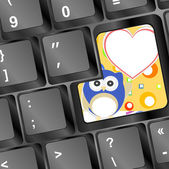 Owl on computer keyboard key with love hearts — Stock Photo