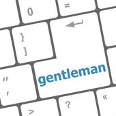 Gentleman button on computer pc keyboard key — Stock Photo