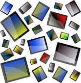 Tablet PC set isolated on white background. seamless pattern — Stock Photo