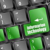 Informacje o technologii przycisk na klawiaturze komputera — Zdjęcie stockowe