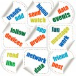 Social media concept stickers in word tag cloud — Stock Photo