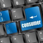 Konsumenten meddelande på ange nyckel tangentbord — Stockfoto
